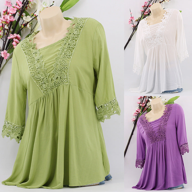 Women Vintage Half Sleeve Tops Solid Color Cutout Lace Blouses