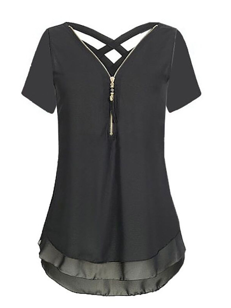 Solid Short Sleeve Causal Blouse Back Cross Strap Tops