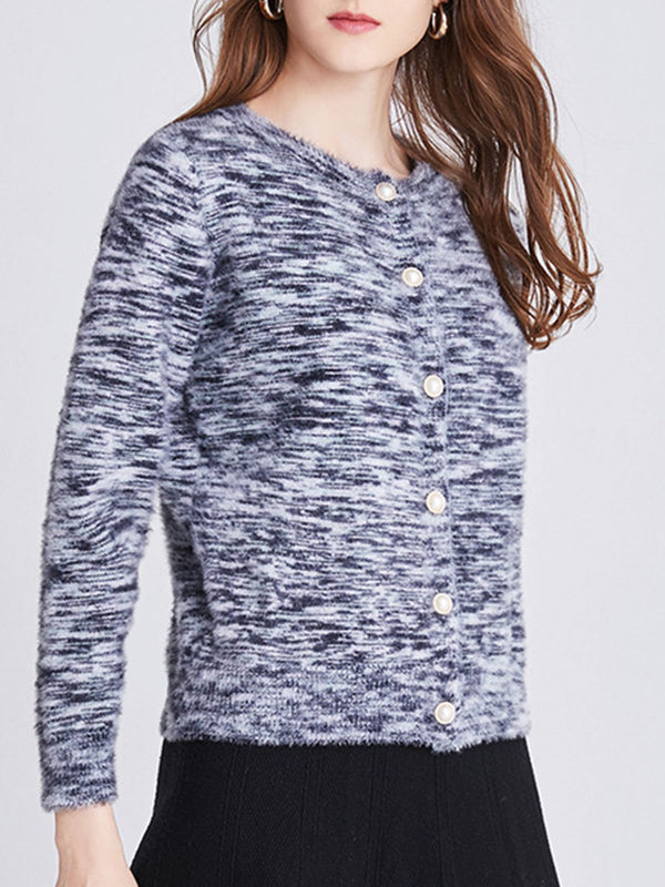 Gray Knitted Casual Knitted Sweater