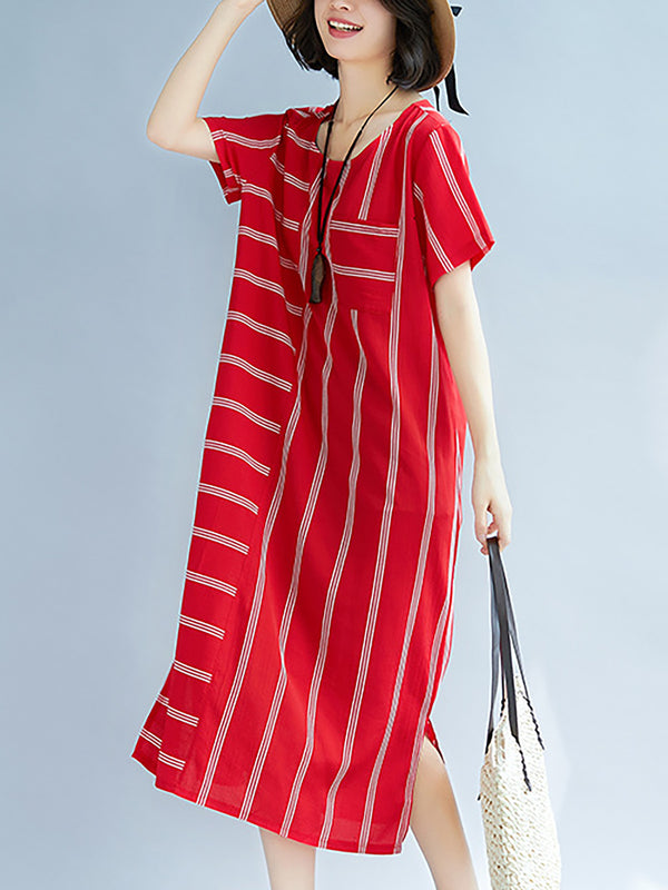 Casual Stripes Short Sleeve Basic Maxi Dress