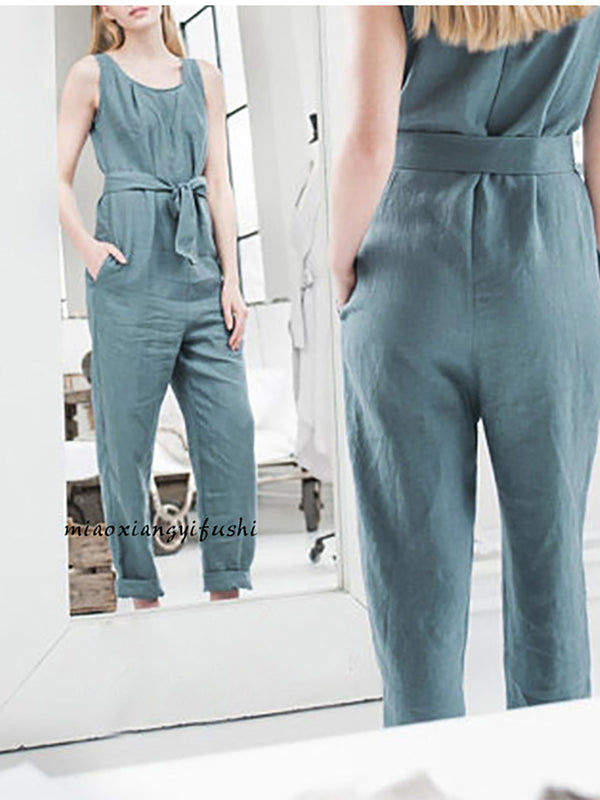 Women Elegant Cozy Cotton Long Pants Jumpsuit
