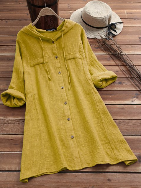 Woman Solid Color Drawstring Hooded Long Sleeve Dresses