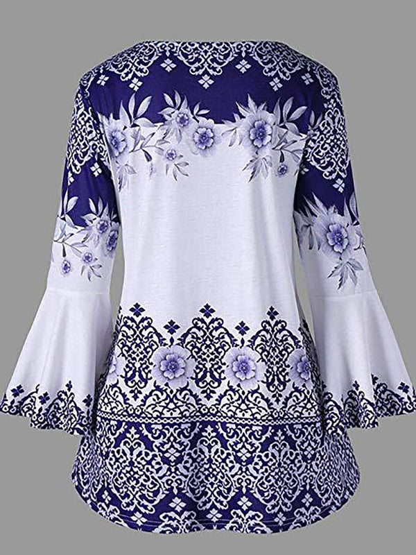 Women Floral Cotton Vintage Bell Sleeve Casual Tops