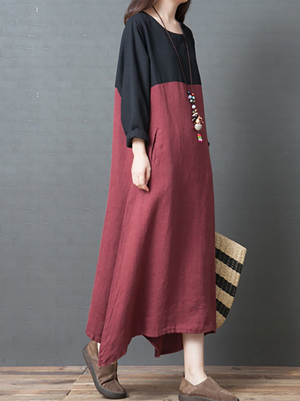 Long Sleeve Color-Block Shift Casual Crew Neck Maxi Dress