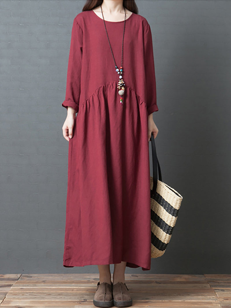 Casual Plain Long Sleeve  Crew Neck Tiered Maxi Dress