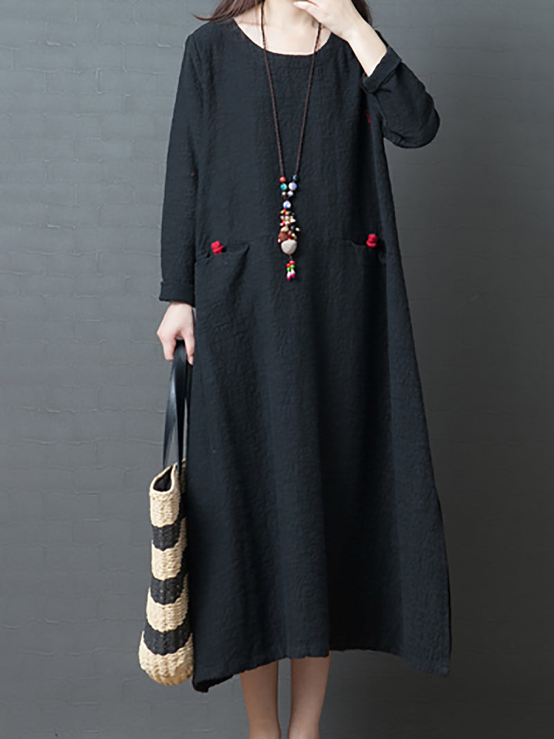 Solid Sweet Daily Casual A-Line Printed Elegant Maxi Dress