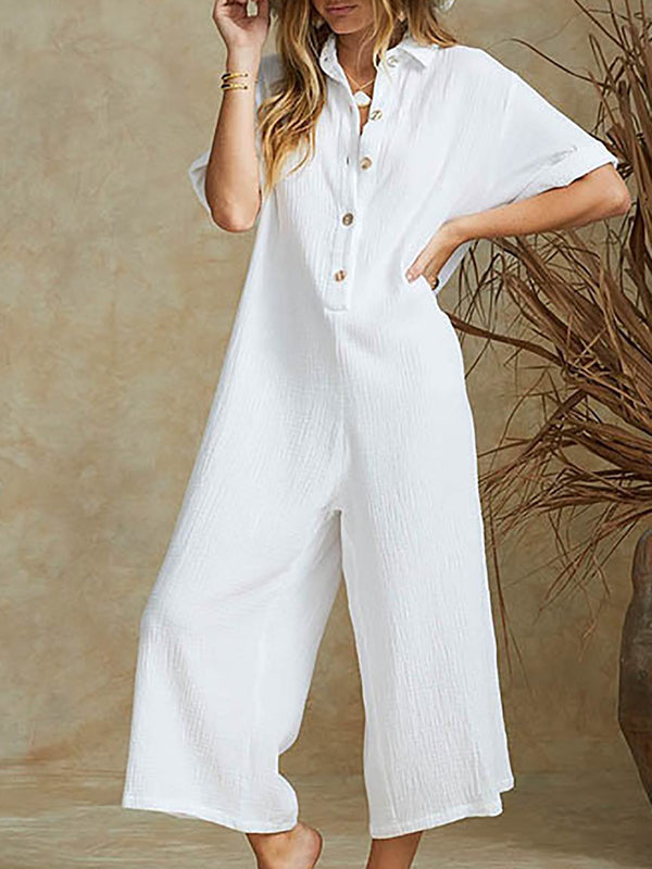 Women Casual Solid Short Sleeve Button Jumpsuits