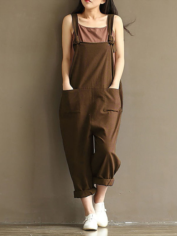 Women Solid Strap Jumpsuits Rompers