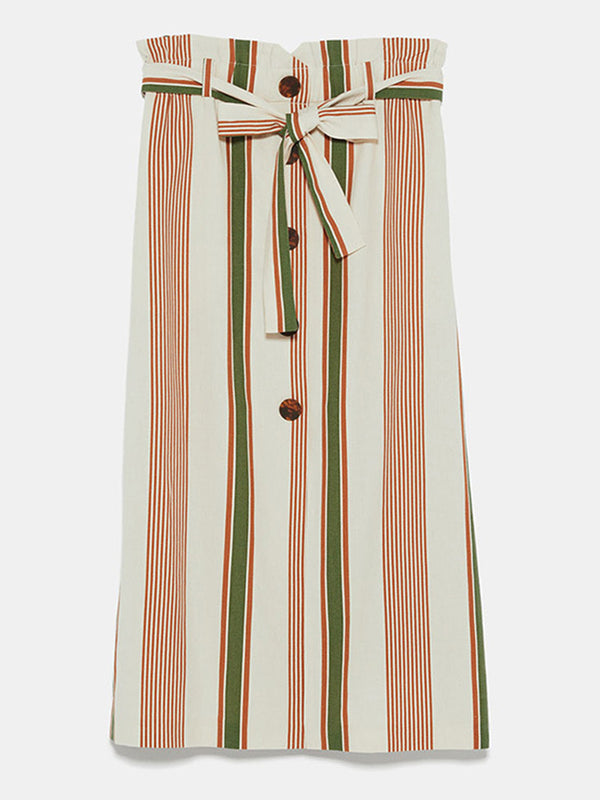 White Shift Striped Casual Skirts