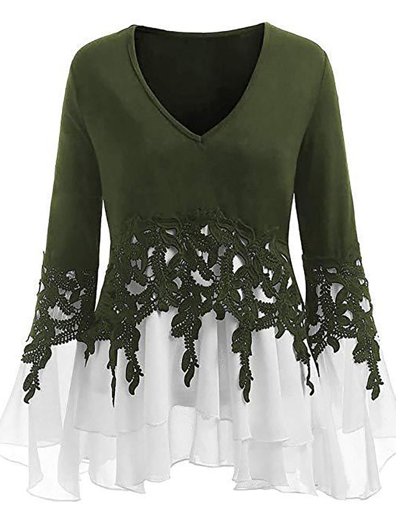 Women Vintage V Neck Long Sleeve Tops Cute Lace film fit Blouses