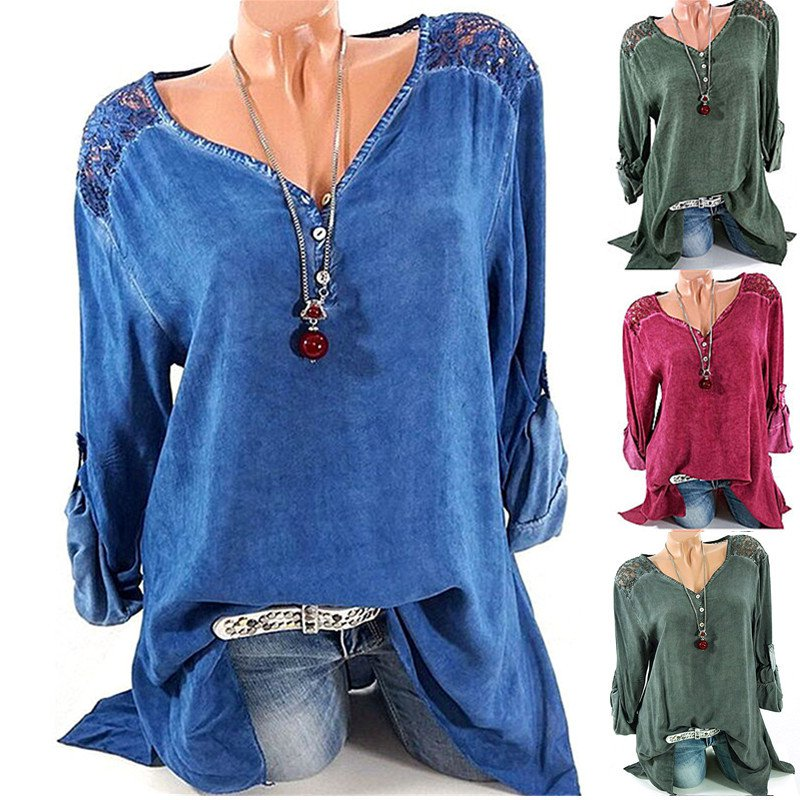 Women Lace Shoulder V Neck Cutout Cotton Long Sleeve Blouses