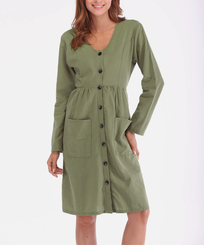 Causal Bottom Long Sleeve Dresses with Pocket