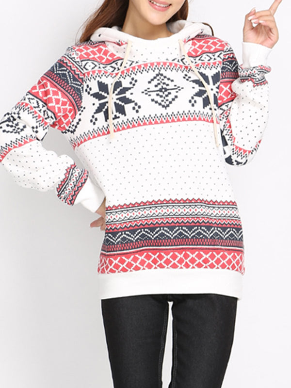 White Printed Geometric Long Sleeve Hoodie