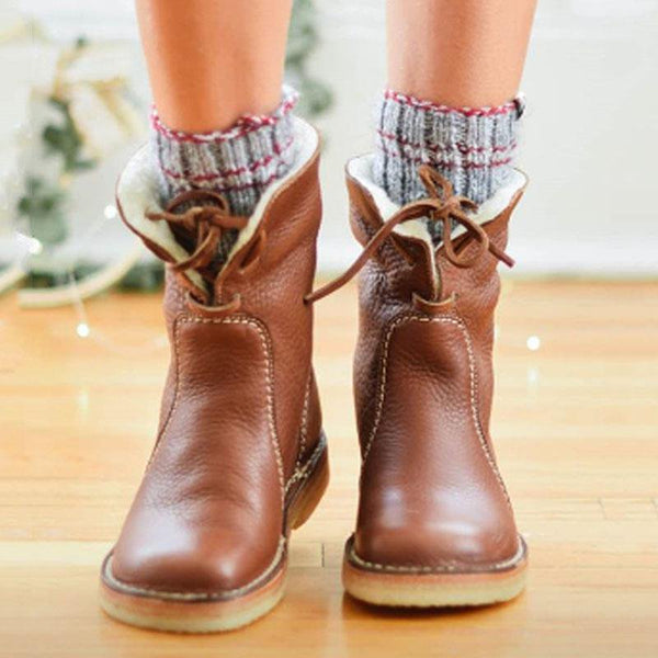 Women Comfy Soft Fur-Lined Leather Casual Round Toe Mid-Calf Boots