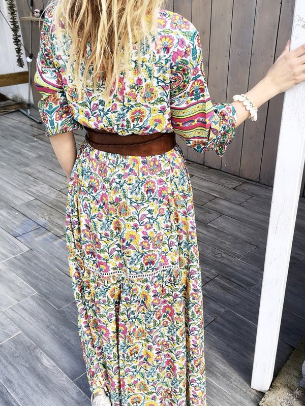 Casual Floral V Neck Half Sleeve Dresses