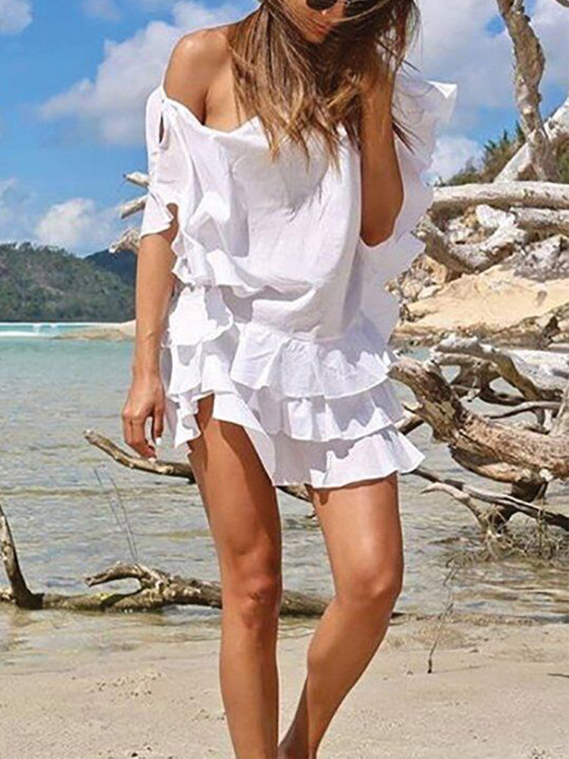 White Batwing Boho Solid Casual Dresses