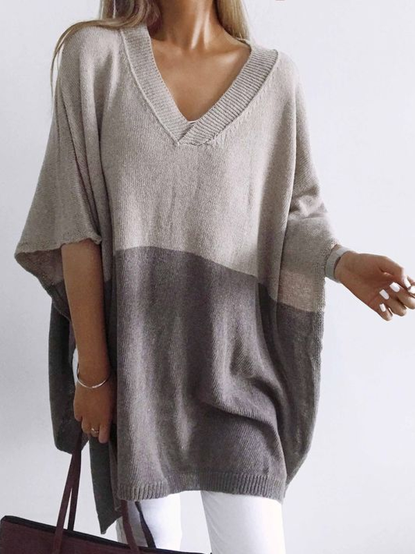 Grey Knitted V Neck Half Sleeve Shirts & Tops