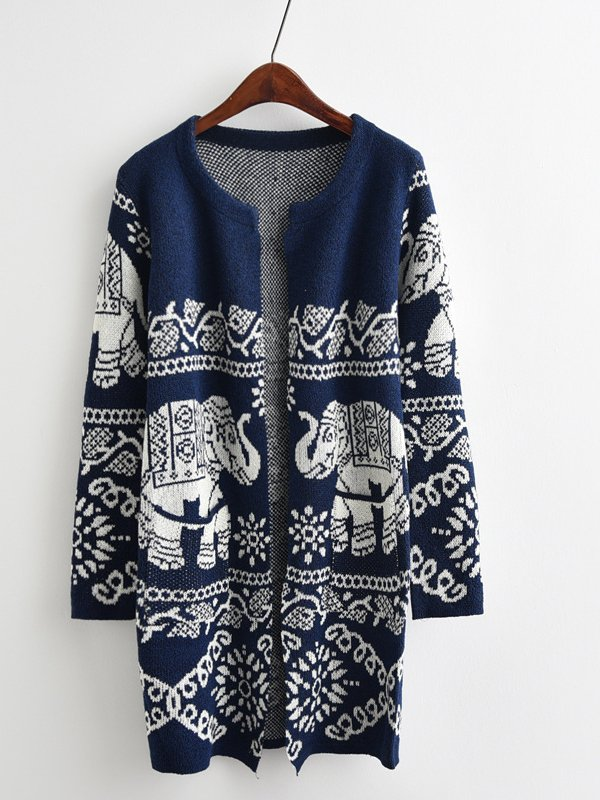 Women Vintage Long Sleeve Tribal Outerwear