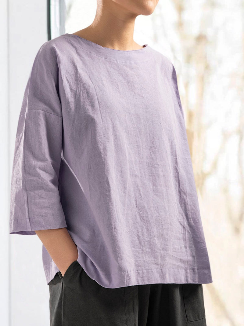 Women Long Sleeve Cotton Solid Casual Tops