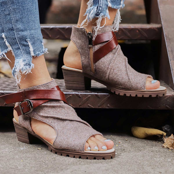 Plus Size Women Sandals Canvas Low-heel Sandals with Zipper