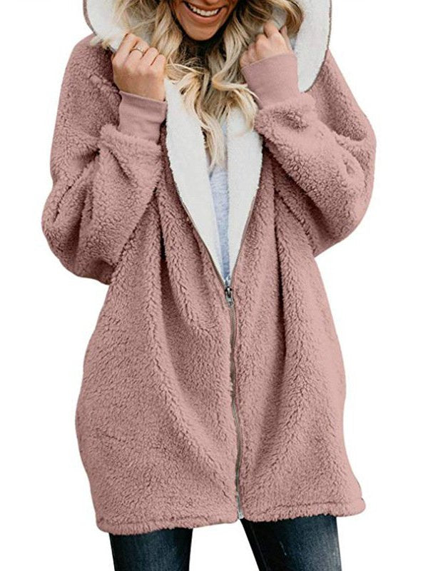 Zipper Solid Sweet Long Sleeve Hoodie & Coat
