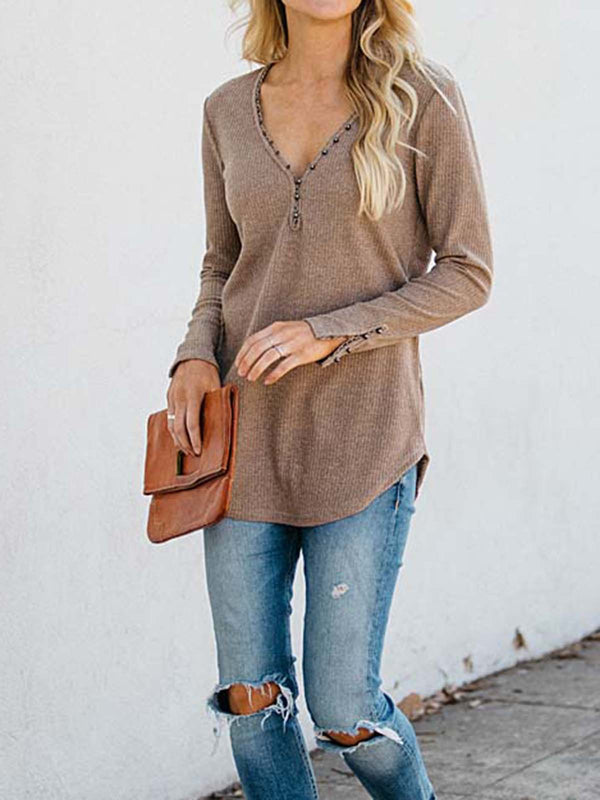Casual Shift Long Sleeve Shirts & Tops