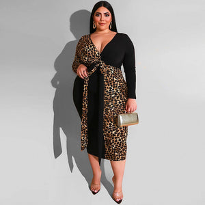 Leopard Contrast Pencil Bodycon Dress Lace - Voluptuous Inc
