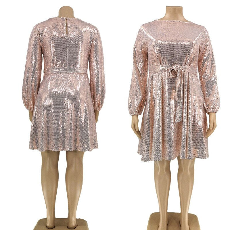 Sequined A-Line Pink Dress Plus Size - Voluptuous Inc