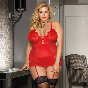 Mesh Satin Trim Sexy Babydoll Lingerie Plus Size - Voluptuous Inc