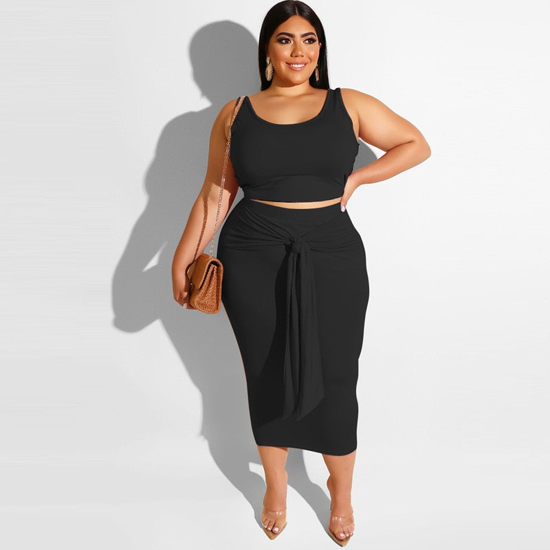 Sexy Crop Skirt Two Piece Set - Voluptuous Inc