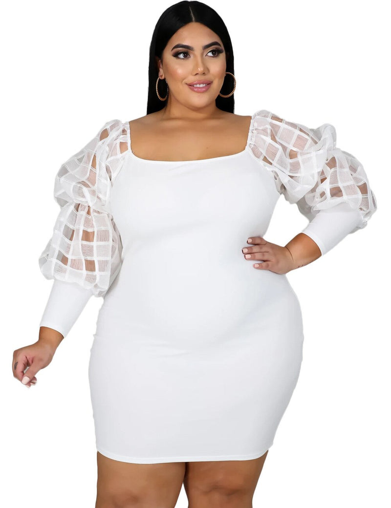 Lantern Mesh Patchwork Bodycon Mini Dress Plus Size - Voluptuous Inc