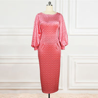 Polka Dot Puff Sleeve Velvet Midi Party Dress - Voluptuous Inc