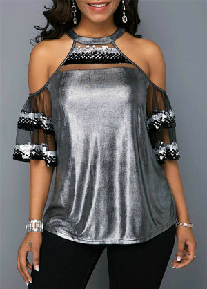 Sexy Off Shoulder Sequins Blouse - Voluptuous Inc