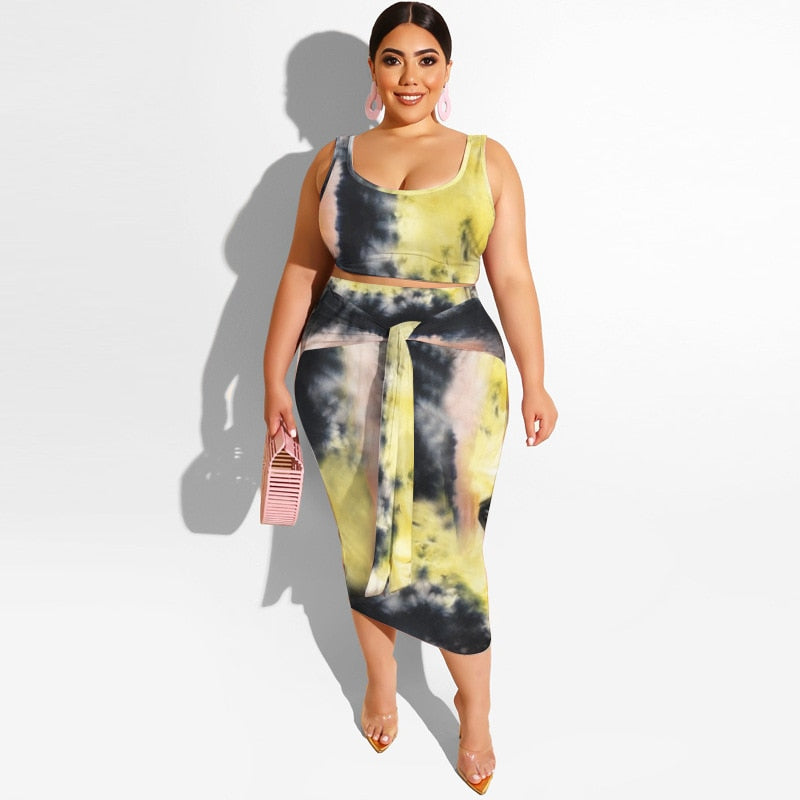 Wholesale Dropshpping Large Size New Design Fashion Women's Suit Tie-Dye Printing Tight Fashion Casual Long Skirt Two-Piece Suit - Voluptuous Inc