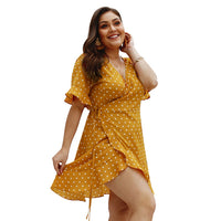 Polka Dot Boho Wrap Beach Dress Plus Size - Voluptuous Inc