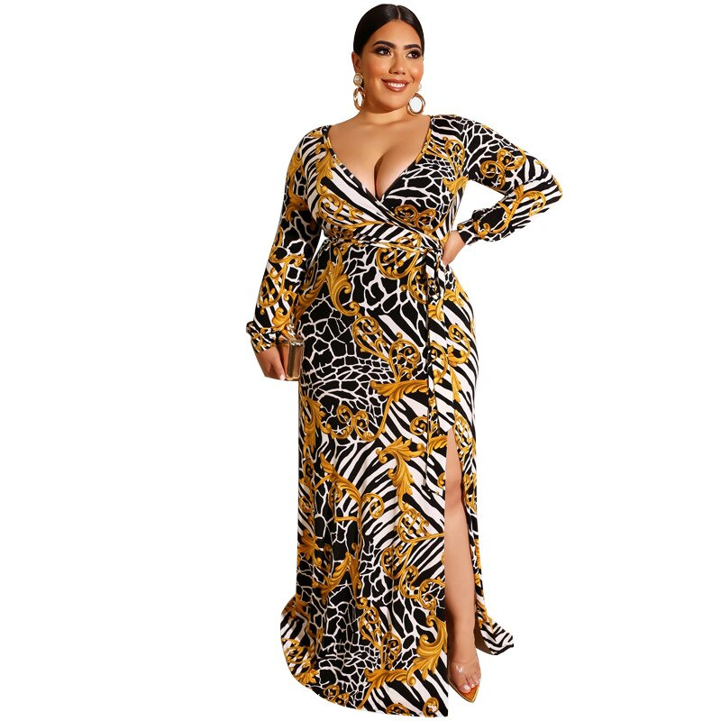 Fashionable Printed Wrap High Slit Dress - Voluptuous Inc