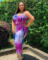 Women Spaghetti Straps Jumpsuit Plus-Sized Fat Digital Printed Ruched Siamese Trousers Loose Long Pants Rompers Onesies Overalls Plus Size - Voluptuous Inc