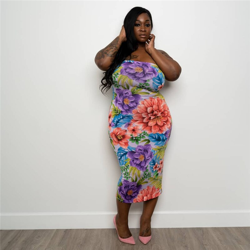 Birthday Outfits for Women Summer Dress Plus Size Strapless Vintage Dresses Bodycon Sexy Floral Dress Wholesale Dropshipping - Voluptuous Inc