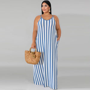 Striped Maxi Slip Loose Oversized Dress Plus Size - Voluptuous Inc