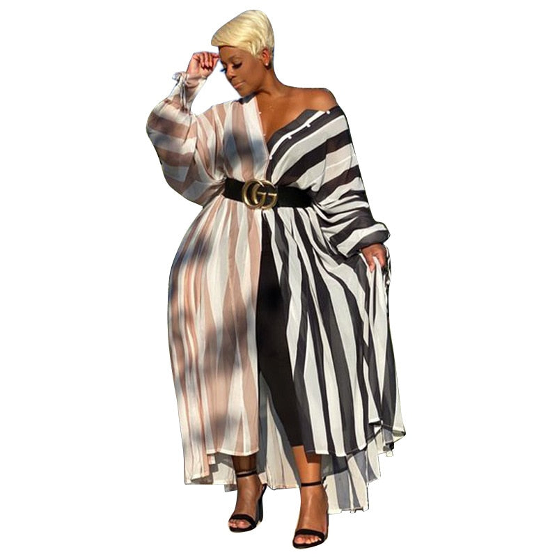 Striped Casual Shirt Dress - Voluptuous Inc