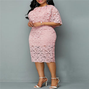 Cape Floral Elegant Lace Party Midi Dress - Voluptuous Inc
