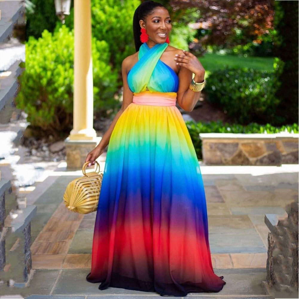 Rainbow Wrap Halter Maxi Dress - Voluptuous Inc