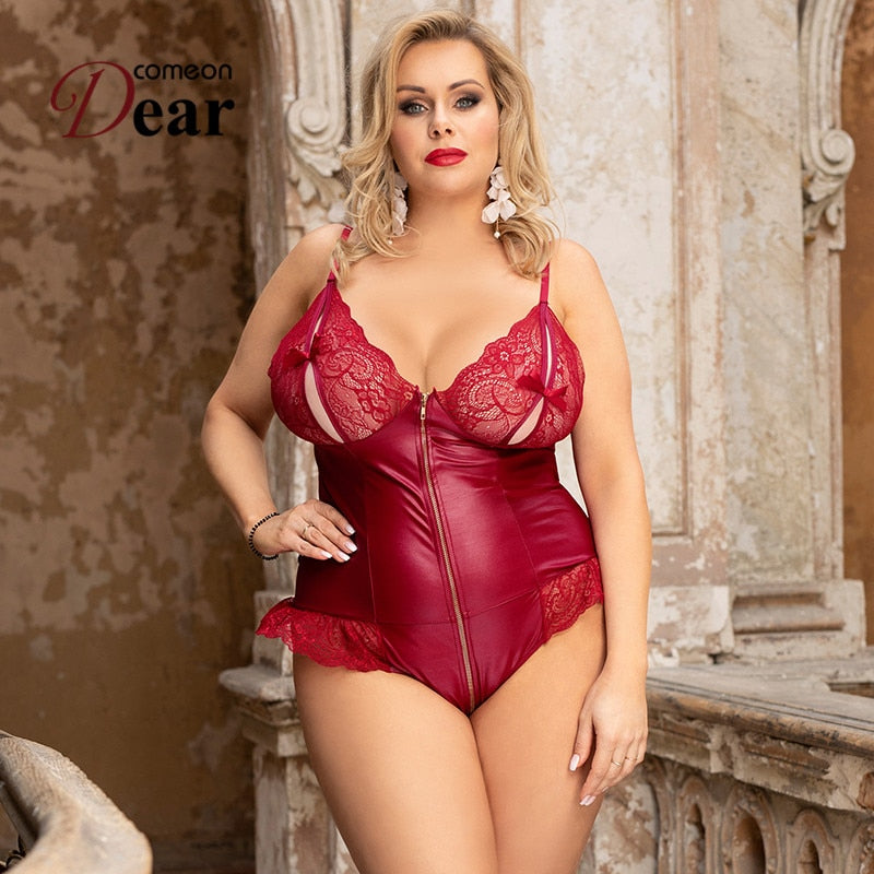 Sexy Zipper Body Leather Teddy Bodysuit Plus Size - Voluptuous Inc