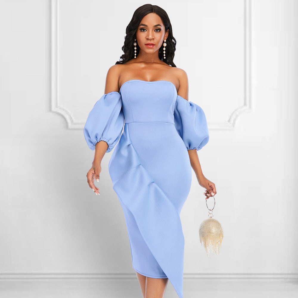 Off Shoulder Puffy Sleeve Ruffle Cocktail Dress - Voluptuous Inc