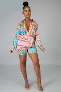 Scarf Printed Colorful Sexy Shorts Set Plus Size - Voluptuous Inc