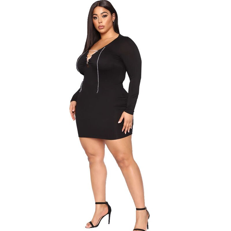 Sexy Lace Up Bodycon Mini Dress - Voluptuous Inc