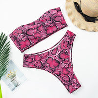 Snake Print  Bandeau Bikini Swimsuit - Voluptuous Inc