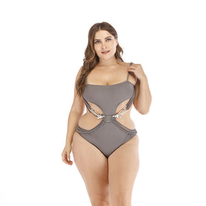 Buckle Trim Bandage Swimsuit Plus Size - Voluptuous Inc