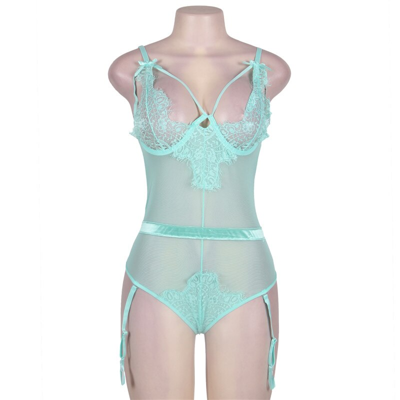 Sexy Teddy Sheer Mesh Bodysuit Lingerie - Voluptuous Inc