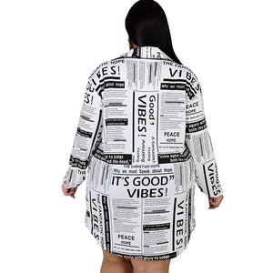 Newspaper Print Dress Plus Size - Voluptuous Inc